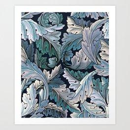 Art Nouveau William Morris Blue Acanthus Leaves Art Print