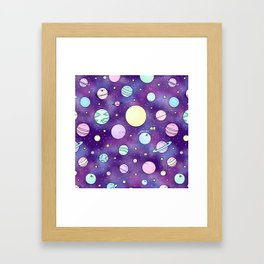 Need Some Space! Kawaii Galaxy Doodle Framed Art Print
