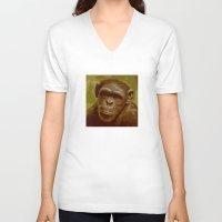 camo V-neck T-shirts featuring camo monkey! by noblackcolor