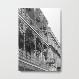 New Orleans Architecture - Black & White Photography Metal Print