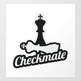 Awesome Chess Checkmate T-Shirt Saying Eat Sleep Check Mate Art Print