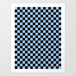 Black and Baby Blue Checkerboard Art Print