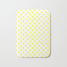 Small Polka Dots - Yellow on White Bath Mat
