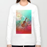 violin Long Sleeve T-shirts featuring Violin with violin bow by nicky2342