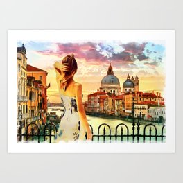 painting of standing girl in Venice grand canal Italy Art Print