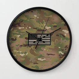 U.S. Flag: Woodland Camouflage Wall Clock
