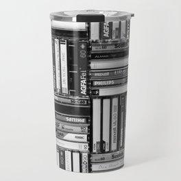 Music Cassette Stacks - Black and White - Something Nostalgic IV #decor #society6 #buyart Travel Mug