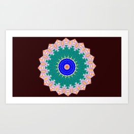 Lovely Healing Mandala  in Brilliant Colors: Brown, Pink, Sunset Orange, Teal, Cream, and Royal Blue Art Print