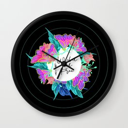 Wild and Free Black Floral Boho Wall Clock
