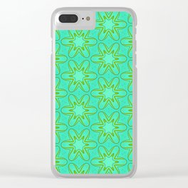 Teal and Green Star Flower Clear iPhone Case