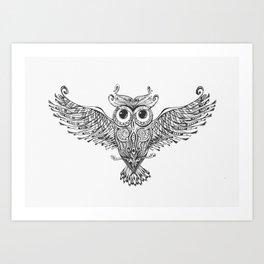Owl Trace B&W Art Print