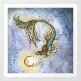 Deep Sea Moon Fantasy Mermaid Art Illustration by Molly Harrison Art Print