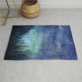 Watercolor Galaxy Nebula Northern Lights Painting Rug