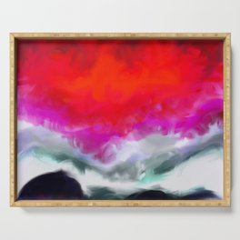 Abstract in Red, White and Purple Serving Tray