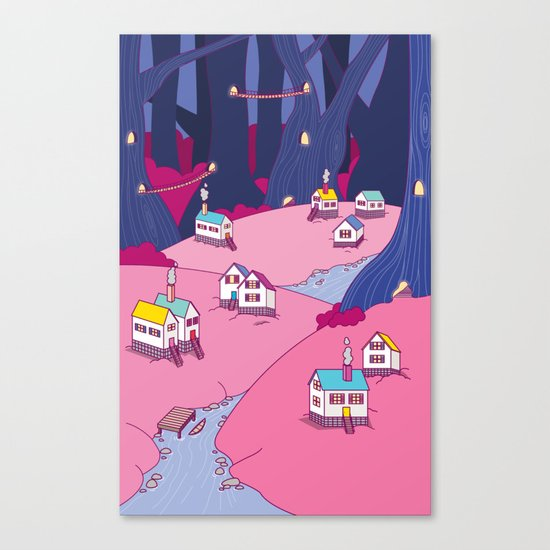 Village in the woods Canvas Print