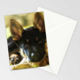Shepherd puppy looks so tired Stationery Cards