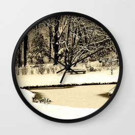 Winter scenery in a park Wall Clock