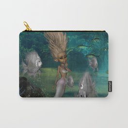 Cute mermaid with fantasy fish Carry-All Pouch