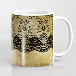 Black floral elegant lace on gold metal background Coffee Mug