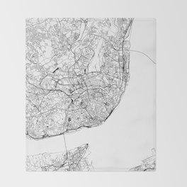 Lisbon White Map Throw Blanket
