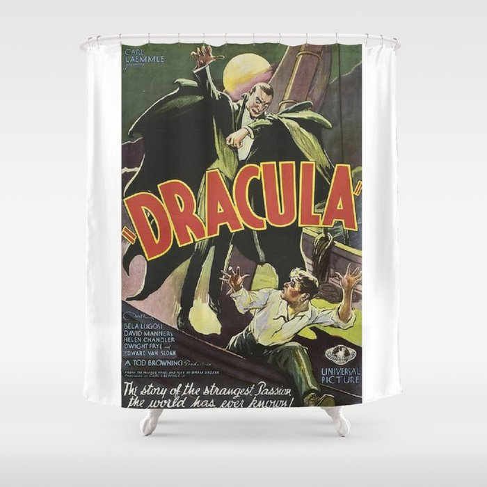 Dracula Vintage Horror Movie Poster Shower Curtain