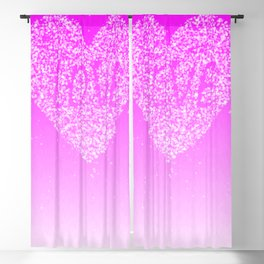 Pink Ombre Love in White Confetti Heart Blackout Curtain