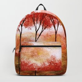 Burning Promise, Red Trees Landscape Art Backpack