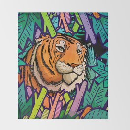 Tiger in the undergrowth Throw Blanket