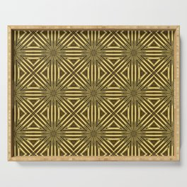 Golden Rattan Wicker Squares Serving Tray