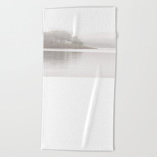 Foggy Crag  Beach Towel