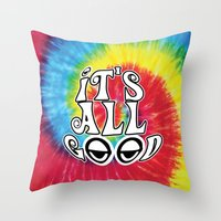 hippy Throw Pillows featuring Hippy by Top Head Culture