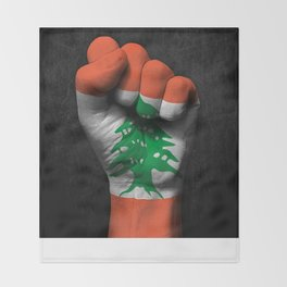 Lebanese Flag on a Raised Clenched Fist Throw Blanket