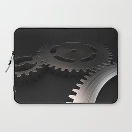 Set of metal gears and cogs on black Laptop Sleeve