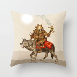 Goblin & Wolf cavalry Throw Pillow