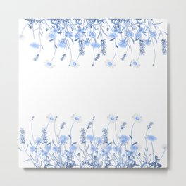 Wild Flowers in Blue and White Metal Print
