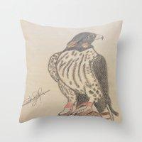 falcon Throw Pillows featuring FALCON by Shomos