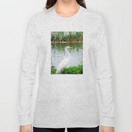 The Great White Egret:) (pointillism) | Large White Bird | Nature Photography Long Sleeve T-shirt