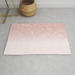 Elegant rose gold pink gradient glitter Rug