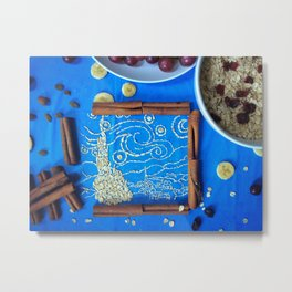 The Starry Night in oatmeal form Metal Print