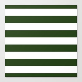 Large Dark Forest Green and White Cabana Tent Stripes Canvas Print