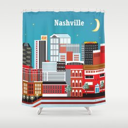 Nashville, Tennessee - Skyline Illustration by Loose Petals Shower Curtain