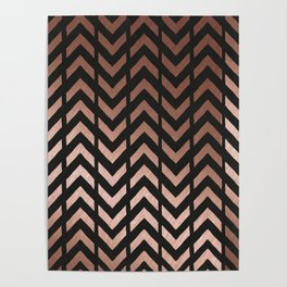 Rose gold and black chevron Poster