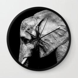 Elephant Portrait BW Wall Clock