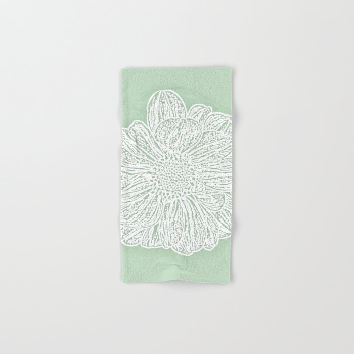 Single White Dahlia Lino Cut Soft Sage Green Hand Bath Towel
