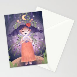 Cute little Witch with magic ball. Fairytale. Sorceress. Halloween concept Stationery Cards
