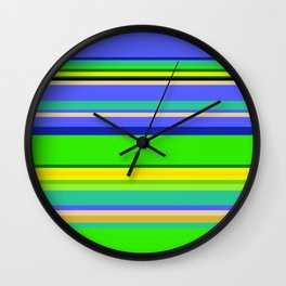 Color Stripes 2 - blue and green Wall Clock