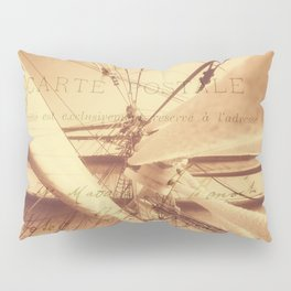 Vintage Nautical Sailing Typography in Sepia Pillow Sham