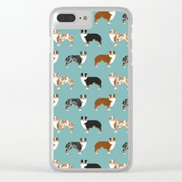 Australian Shepherd owners dog breed cute herding dogs aussie dogs animal pet portrait hearts Clear iPhone Case