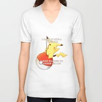 pokeball V-neck T-shirts featuring Pokeball by Mie Kristensen