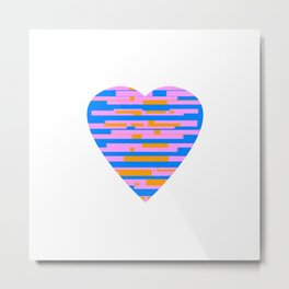 Glitching Hearts — Pink, Blue, and Orange Metal Print